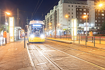 A tram station at Alexander Platz in Berlin Mitte by night, Berlin, Germany, Europe