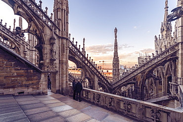 Duomo (Cathedral) in Milano from above before sunset, Milan, Lombardy, Italy, Europe