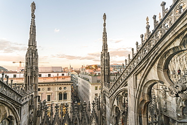 View of the Duomo (Cathedral) in Milan from the roof before sunset in winter, Milan, Lombardy, Italy, Europe