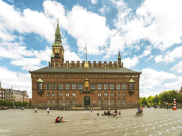 Copenhagen City Hall in summer with blue sky and clouds, Copenhagen, Denmark, Europe