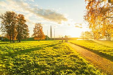 Maarjamae Memorial Park before sunset in autumn, on Pirita Road between the Lasnamae plateau and Tallinn Bay, Estonia, Europe