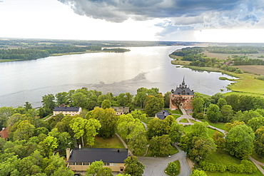Wik (Vik) Castle and Lake Malaren near Wik Castle, in Uppsala County, Sweden, Scandinavia, Europe