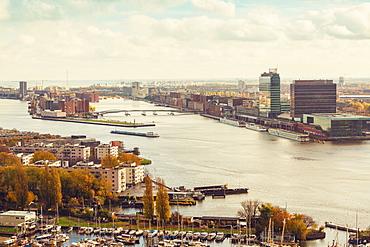 IJplein en Vogelbuurt and Zeeburg on the top right, Amsterdam, North Holland, The Netherlands, Europe