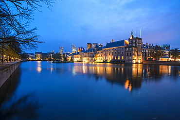 Hofvijver with the skyline of The Hague, The Netherlands, Europe