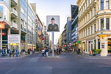 Haus am Checkpoint Charlie in Friedrichstrasse, a well known tourist hub, Berlin, Germany, Europe