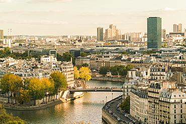 Ile Saint louis and Il de la Cite from Square of Saint-Jacques Tower, Paris, France, Europe