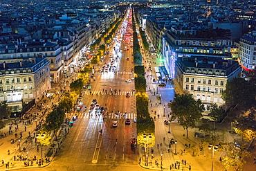 Avenue des Champs-Elysees at night, Paris, France, Europe