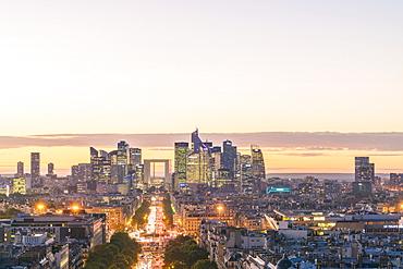 La Defense, the modern district of Paris from the Arc de Triomphe, Paris, France, Europe