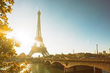 Eiffel Tower early in the morning, viewed from the other side of the River Seine, Paris, France, Europe
