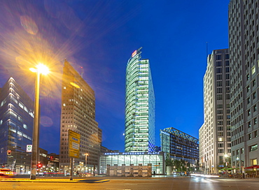 Potsdamer Square (Potsdamer Platz) at night, Berlin, Germany, Europe