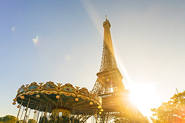 Eiffel Tower with historic Carousel, Paris, France, Europe