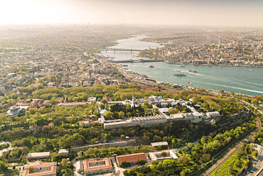 City of Istanbul from above with the Topkapi Palace, UNESCO World Heritage Site, in the foreground, Istanbul, Turkey, Europe