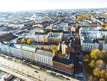 Helsinki city center from above, Helsinki, Finland, Europe