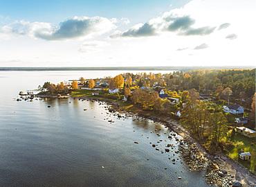 Aerial view of Altja and the Baltic Sea, Laane-Viru, Estonia, Europe