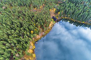 Viitna Lake in autumn from above, Laane-Viru, Estonia, Europe
