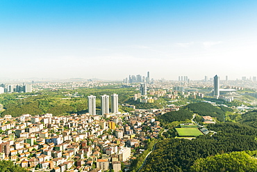 Aerial view of the modern part of Istanbul with skyscrapers in the background, Istanbul, Turkey, Europe