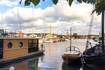 View of harbor in Tingstadsvassen in Hesingen (Hisingen), Gothenburg, Sweden, Scandinavia, Europe