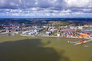 Aerial view by drone of Hesingen (Hisingen) island, Gothenburg, Sweden, Scandinavia, Europe