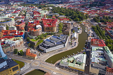 Aerial view by drone of Inom Vallgraven old city by the harbor in Gothenburg, Sweden, Scandinavia, Europe
