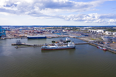 Aerial view by drone of the harbor by Volvo factory and museum, Gothenburg, Sweden, Scandinavia, Europe