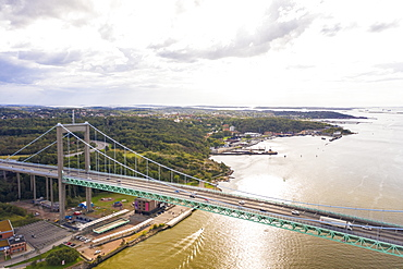 Aerial view by drone of Radasten Art Hall and Alvsborgsbron bridge crossing to Hesingen (Hisingen) Island, Gothenburg, Sweden, Scandinavia, Europe