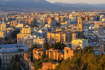 View of city and the Cathedral of Malaga from Alcazaba at sunrise, Malaga, Andalusia, Spain, Europe