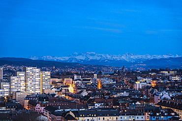 View of Zurich district 4 and 5 from above at night, Zurich, Switzerland, Europe
