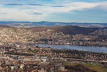 View of Zurich lake and city with the mountains in the background from Uetli mountain, Zurich, Switzerland, Europe