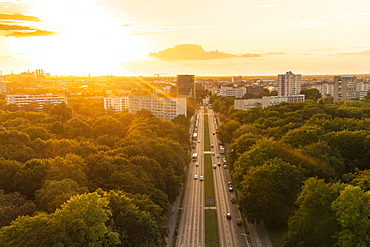 View of Berlin skyline from Siegessaule, Berlin, Germany, Europe