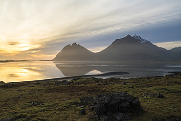 View of the mountains by Hofn at sunrise, Iceland, Polar Regions