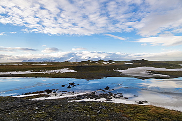Parts of melted glacier and ice near the Jokulsarlon Iceberg Lagoon, view from Road 1, Iceland, Polar Regions