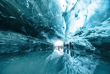 Ice cave in Vatnajokull glacier, Iceland, Polar Regions