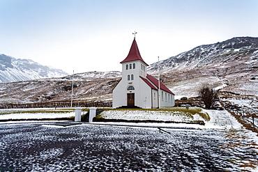 Asolfsskalikirkja Church in Asolfsskali in the south of Iceland, Iceland, Polar Regions