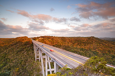 Viaduct at sunset in the forest of Cuba, Havana district, Cuba, West Indies, Caribbean, Central America