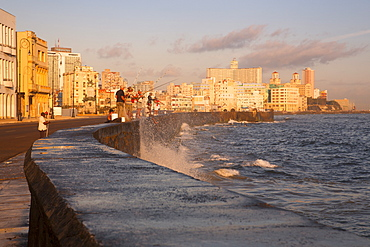 Malecon at sunrise, Havana, Cuba, West Indies, Caribbean, Central America