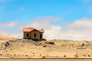 An abandoned and ruined train station named Grasplatz in the town Luderitz within the Spergbeit Diamond Region, Namibia, Africa