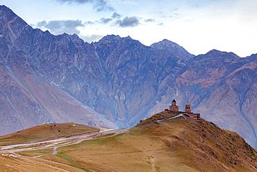 Gergeti Trinity Church in the North of Georgia, Central Asia, Asia