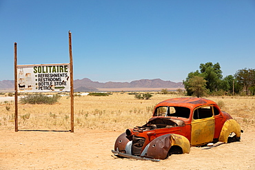 Solitaire, a cool town full of rusting cars, bikes and disused fuel pumps, Solitaire, Namibia, Africa