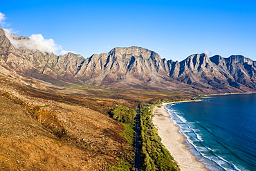 Drone imagery of Kogel Bay Beach an hour from Cape Town, South Africa, Africa
