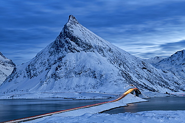 Fredvang Bridge at night with light trails, Lofoten, Arctic, Norway, Europe