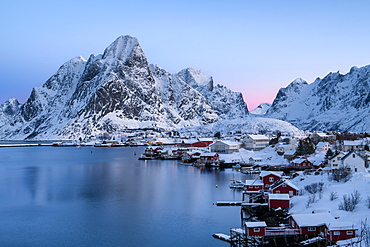 Reine sunrise in winter, Reinefjord, Moskenesoya, Lofoten, Arctic, Norway, Europe