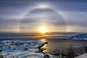 Sunbow at Reine, Lofoten, Arctic, Norway, Europe