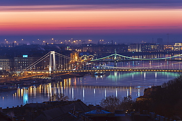 Dawn colours over the River Danube with Elisabeth Bridge and Liberty Bridge, UNESCO World Heritge Site, Budapest, Hungary, Europe