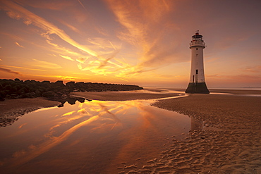 Perch Rock lighthouse, New Brighton, Merseyside,The Wirral, England, United Kingdom, Europe