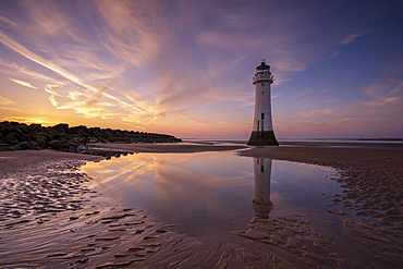 Perch Rock lighthouse with dramatic sky, New Brighton, Merseyside, The Wirral, England, United Kingdom, Europe