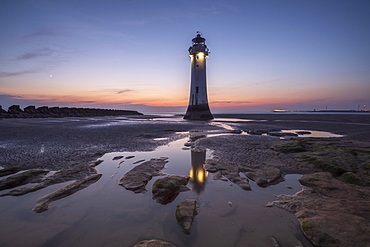 Perch Rock Lighthouse with evening moon, New Brighton, Merseyside, The Wirral, England, United Kingdom, Europe