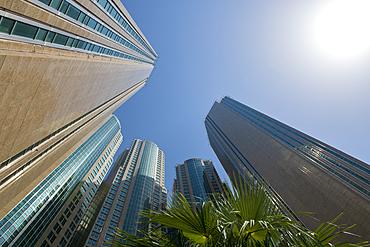 Skyward view of skyscrapers, Abu Dhabi, United Arab Emirates, Middle East