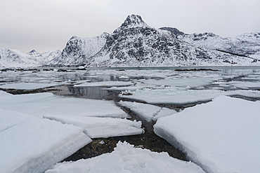 Cracked ice and snow covered mountains, Lofoten Islands, Nordland, Arctic, Norway, Europe