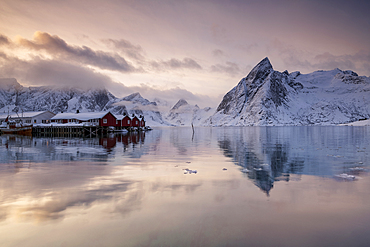 Hamnoy fishing village in winter, Hamnoy, Lofoten Islands, Nordland, Arctic, Norway, Europe