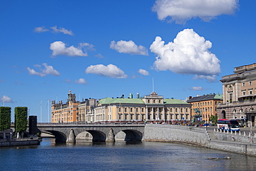 City view with bridge leading to old town, Stockholm, Sweden, Scandinavia, Europe
